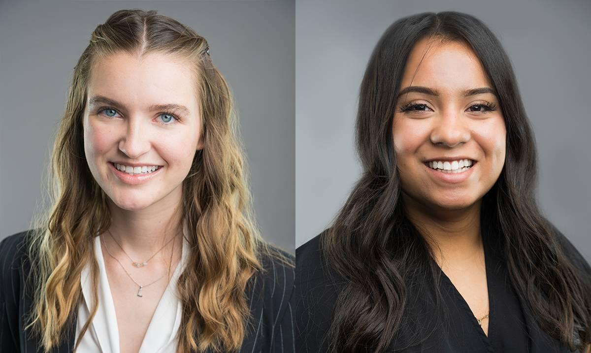 Student Trustees Lauren Ashlock and Elena Sanchez Paez