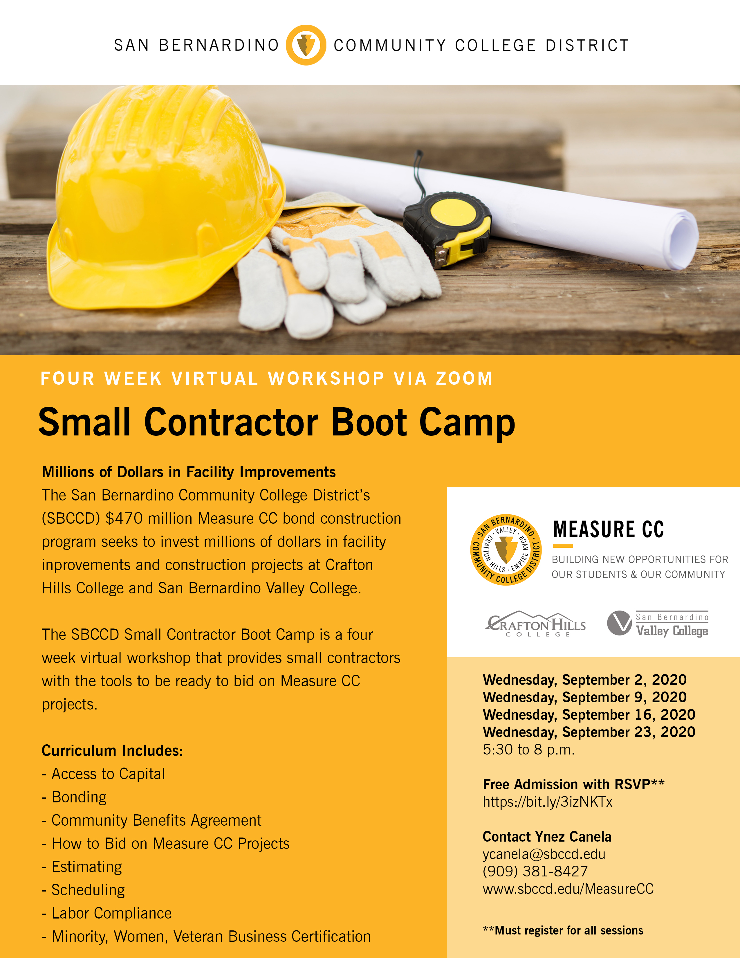 four week virtual small contractor boot camp flyer